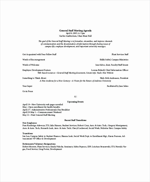 staff meeting agenda template doc