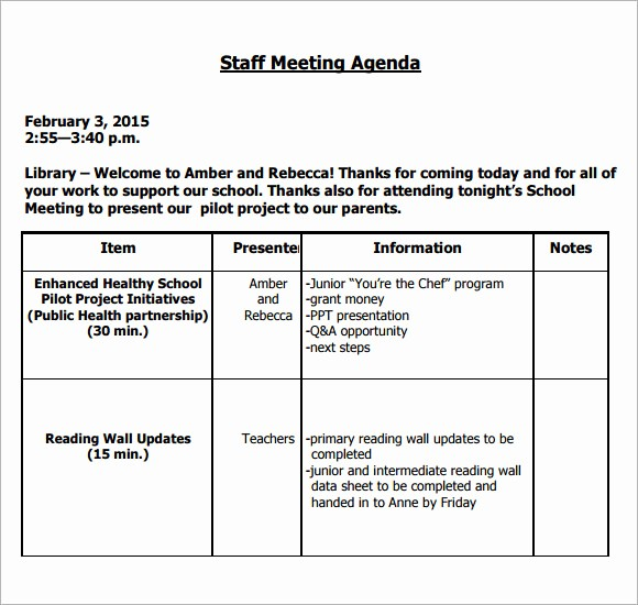 Staff Meeting Minutes Template Doc Fresh 5 Staff Meeting Agenda Samples