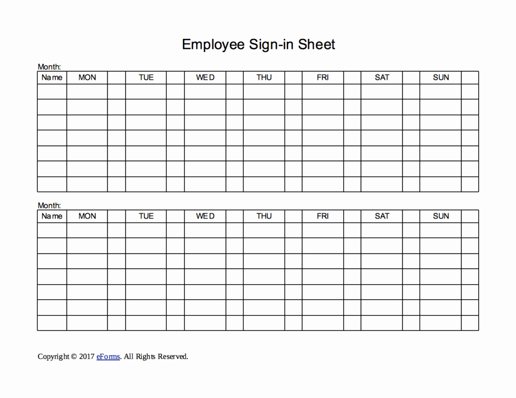 Staff Sign In Sheet Template Awesome Two Week Employee Sign In Sheet Template