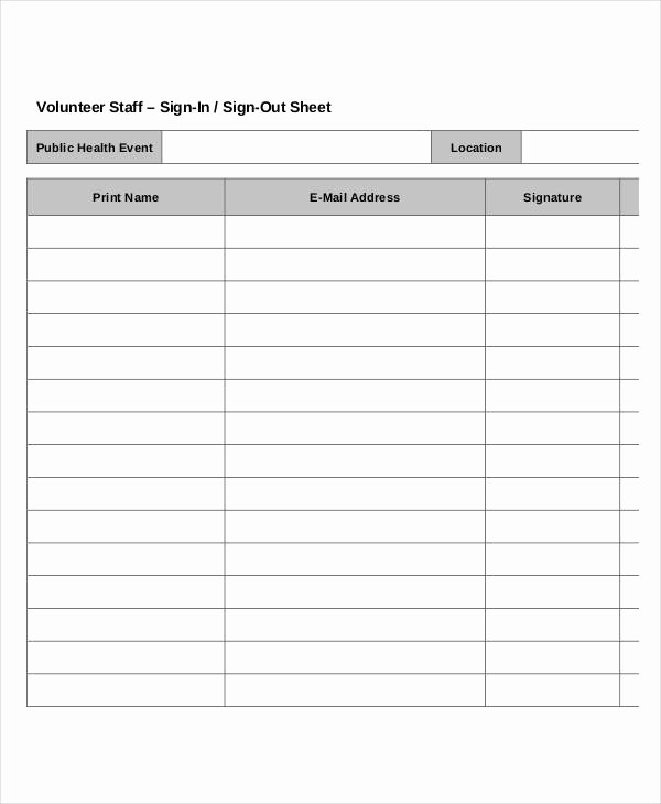 Staff Sign In Sheet Template Elegant Volunteer Sign In Sheet Templates 14 Free Pdf Documents