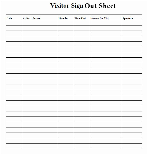 Staff Sign In Sheet Template Fresh Sign Out Sheet Template – 9 Free Samples Examples format