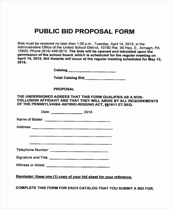 Standard Bid form for Construction Awesome 9 Bid Proposal form Samples Free Sample Example format