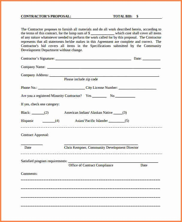 Standard Bid form for Construction Awesome 9 Contract Proposal format