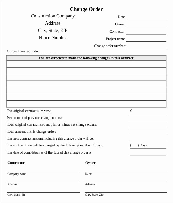 Standard Bid form for Construction Beautiful 24 Change order Templates Pdf Doc