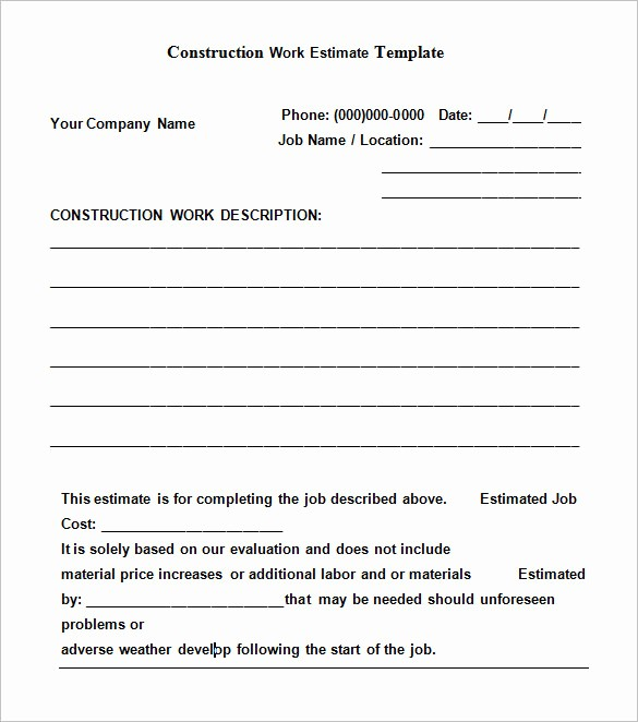 Standard Bid form for Construction Beautiful 6 Work Estimate Templates – Free Word & Excel formats