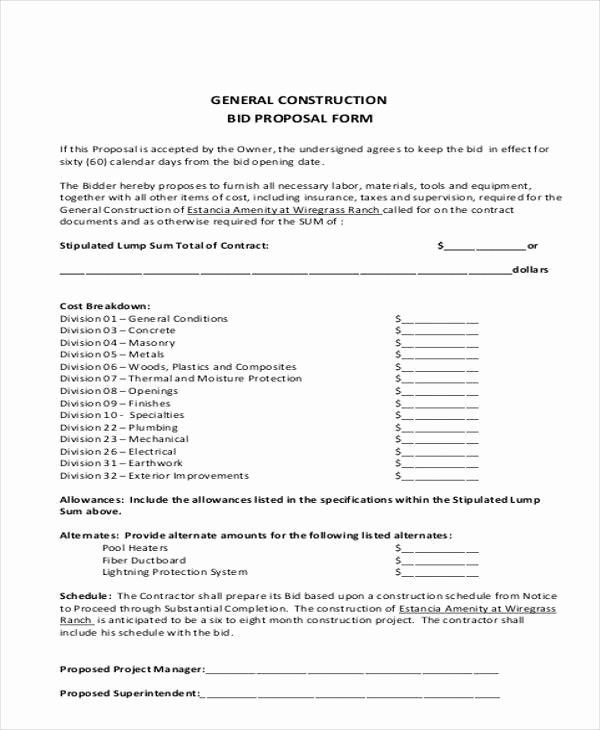 Standard Bid form for Construction Elegant 9 Bid Proposal form Samples Free Sample Example format
