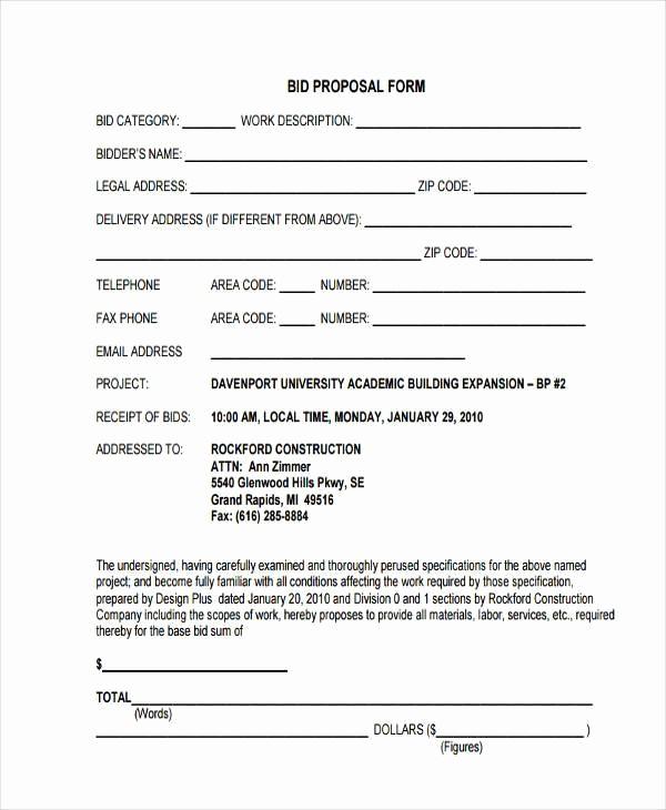 Standard Bid form for Construction Elegant Blank Proposal forms