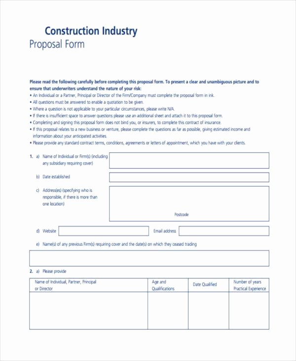 Standard Bid form for Construction Fresh Blank Proposal forms