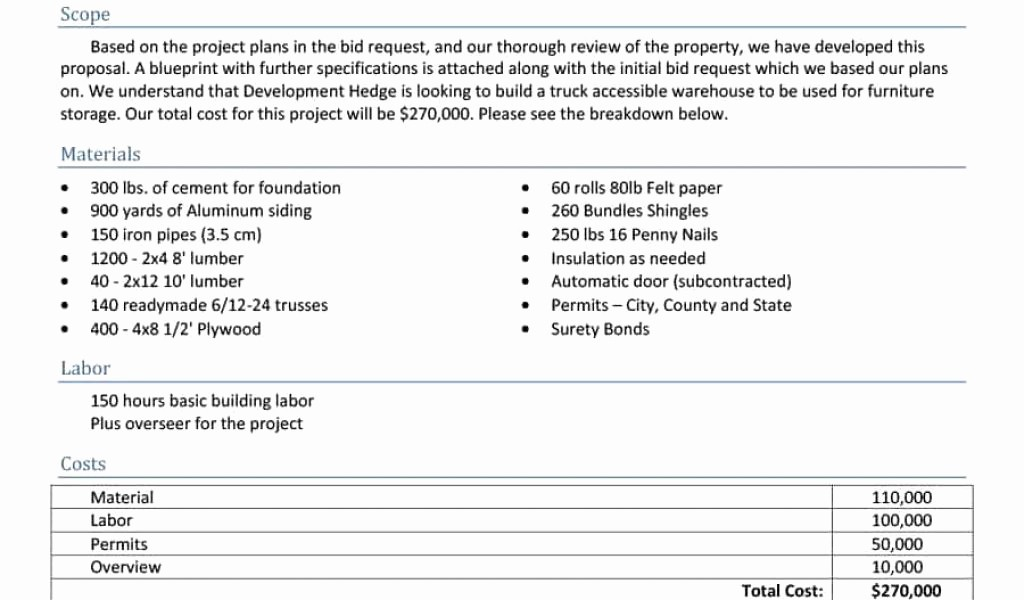 Standard Bid form for Construction Inspirational Standard Proposal Template and 31 Construction Proposal