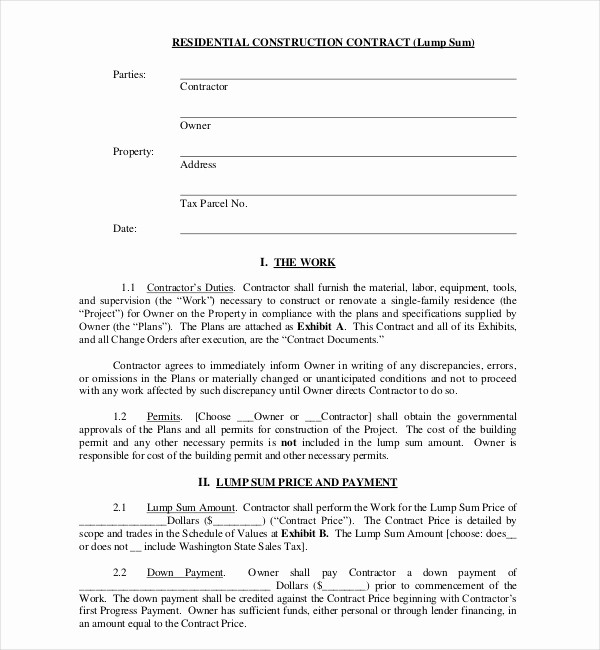 Standard Bid form for Construction Lovely 10 Sample Construction Contract forms