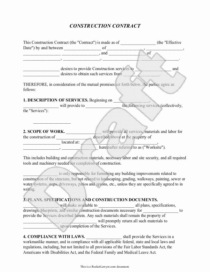 Standard Bid form for Construction Lovely Construction Contract Template