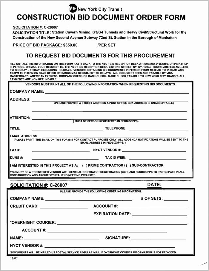 Standard Bid form for Construction Luxury Blank order forms Templates Free Template Resume