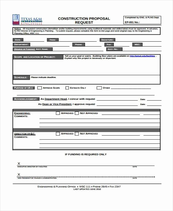 Standard Bid form for Construction Luxury Proposal form Templates