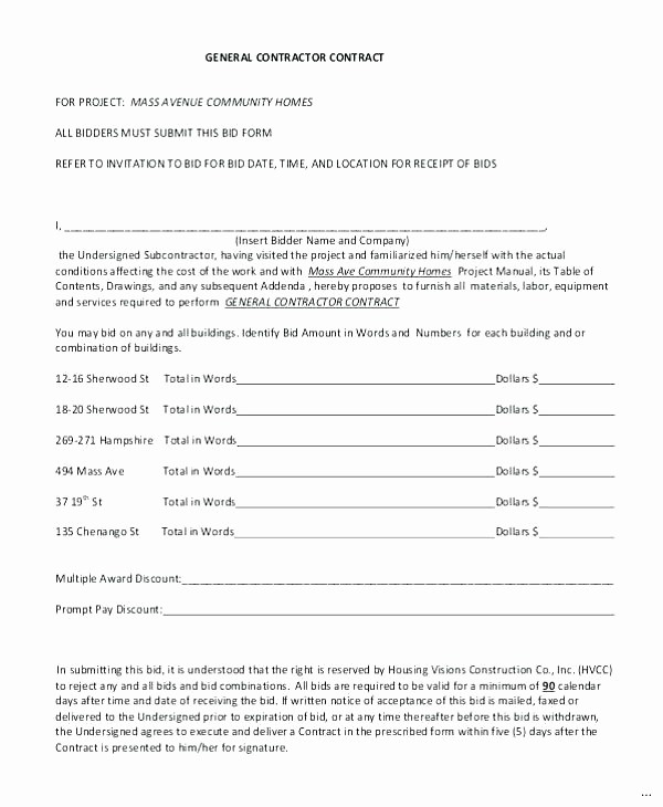 Standard Bid form for Construction Luxury Standard Bid Proposal form Subcontractor Template Monster