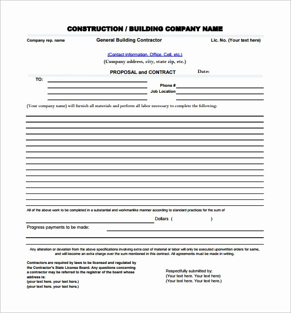 Standard Bid form for Construction New Construction Proposal Templates 17 Free Word Pdf