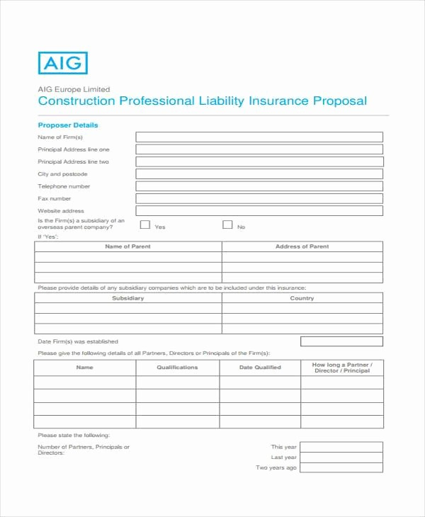 Standard Bid form for Construction New Proposal form Templates