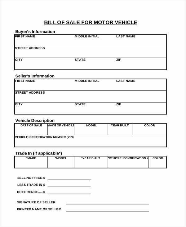 Standard Bill Of Sale form Beautiful Sample Bill Of Sale Vehicle form 8 Free Documents In Pdf