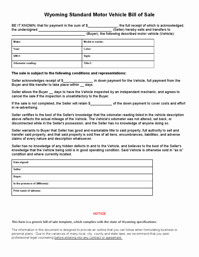 Standard Bill Of Sale form Best Of Free Wyoming Standard Motor Vehicle Bill Of Sale form