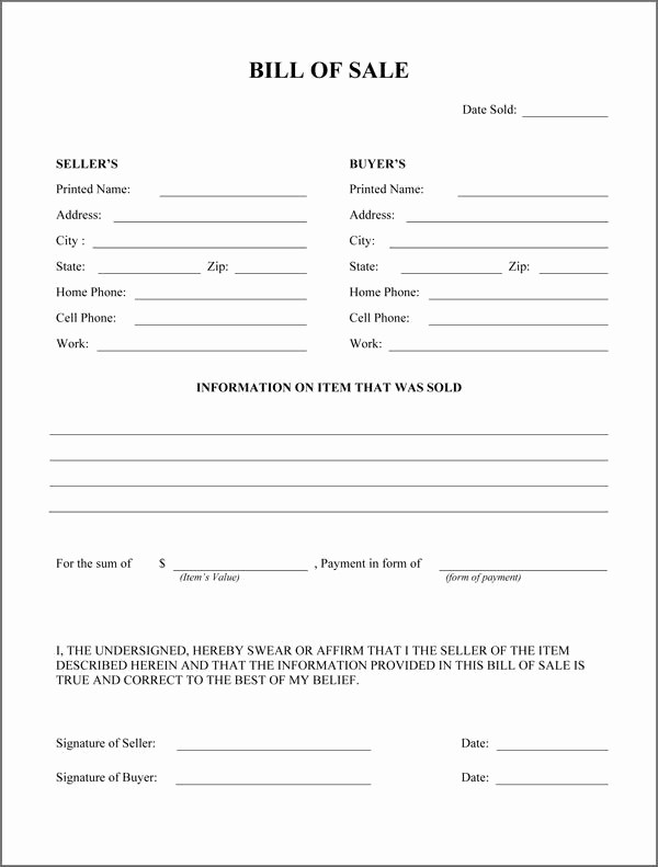 Standard Bill Of Sale form Elegant Free Printable Rv Bill Of Sale form form Generic