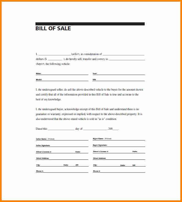 Standard Bill Of Sale form Fresh 6 Simple Bill Of Sale Pdf