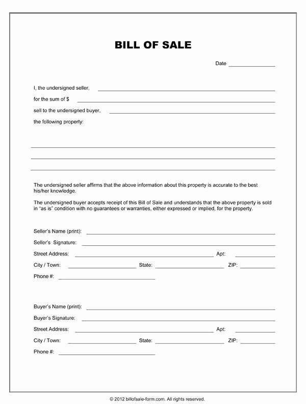Standard Bill Of Sale form Lovely Blank Bill Sale form