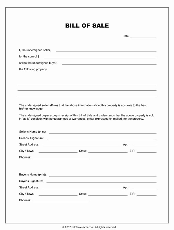 Standard Bill Of Sale form Unique Bill Sale form