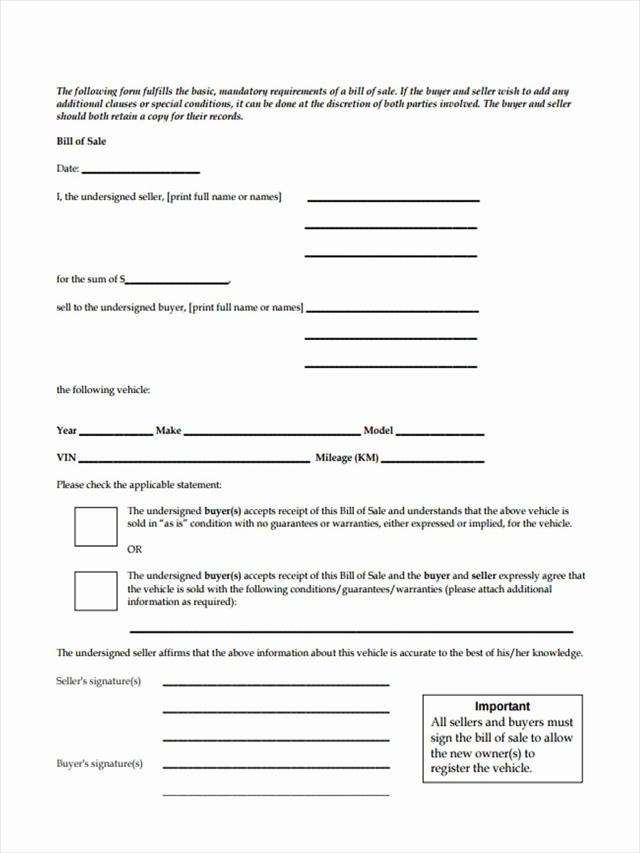 Standard Bill Of Sale form Unique Business Bill Of Sale forms 7 Free Documents In Word Pdf