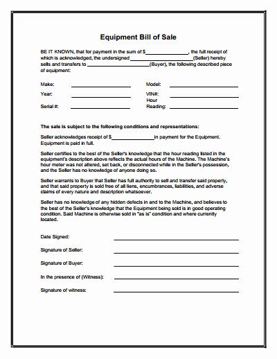 Standard Bill Of Sale form Unique Equipment Bill Of Sale form Download Create Edit Fill