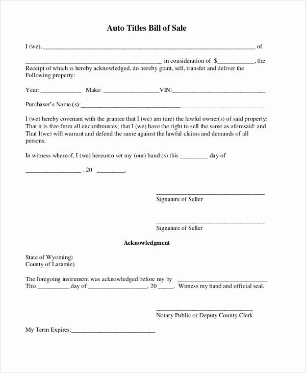 Standard Bill Of Sale Pdf Lovely Sample Auto Bill Of Sale form 8 Free Documents In Pdf