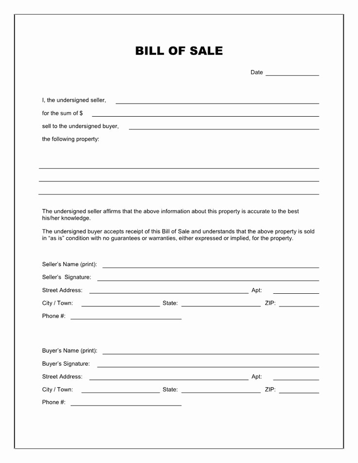 Standard Bill Of Sale Pdf New Free Printable Blank Bill Of Sale form Template as is