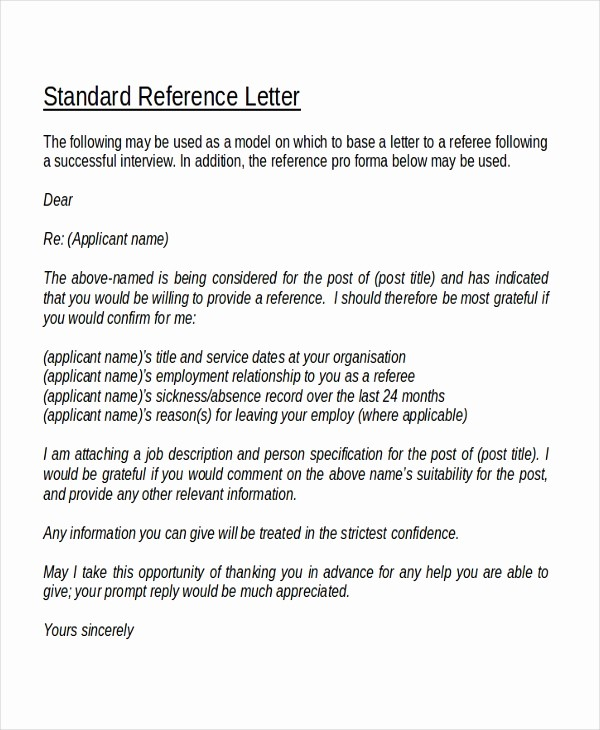 Standard Business Letter format Template Best Of 18 Reference Letter Template Free Sample Example