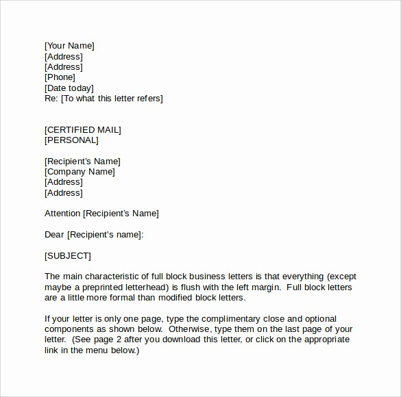 Standard Business Letter format Template Best Of Standard Business Letters 6 Free Samples Examples