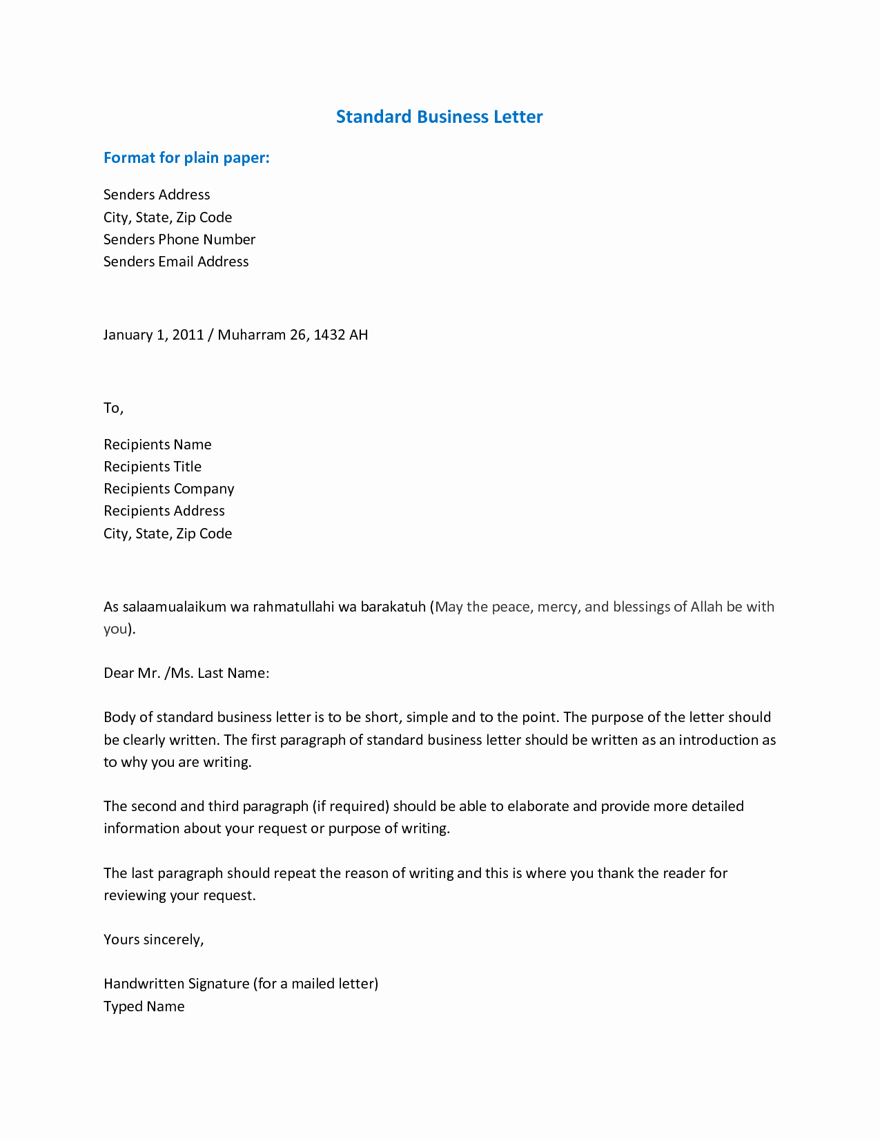 Standard Business Letter format Template Elegant 6 Best Of Sample Professional Email Template
