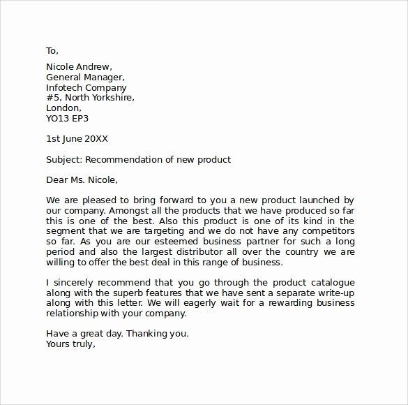 Standard Business Letter format Template Fresh Sample Standard Business Letter format 7 Free Documents