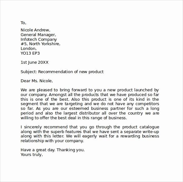 Standard Business Letter format Template Fresh Sample Standard Business Letter format 7 Free Documents