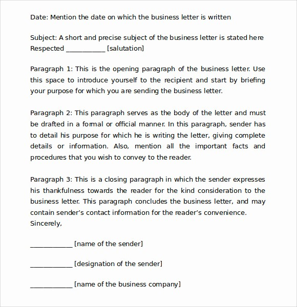 Standard Business Letter format Template Inspirational 8 Proper Business Letter format Templates Download for