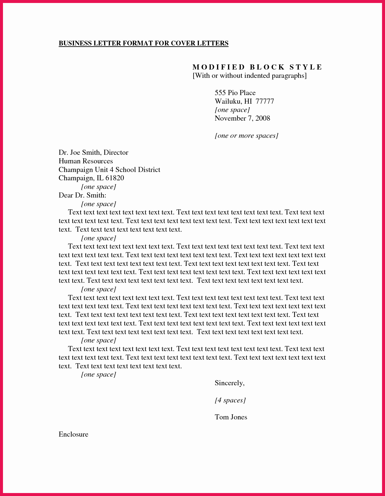 Standard Business Letter format Template Inspirational Business Cover Letter format