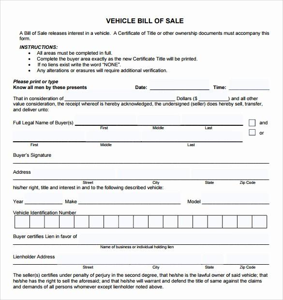 Standard Car Bill Of Sale Elegant 8 Car Bill Of Sale Templates for Legal Purposes Download