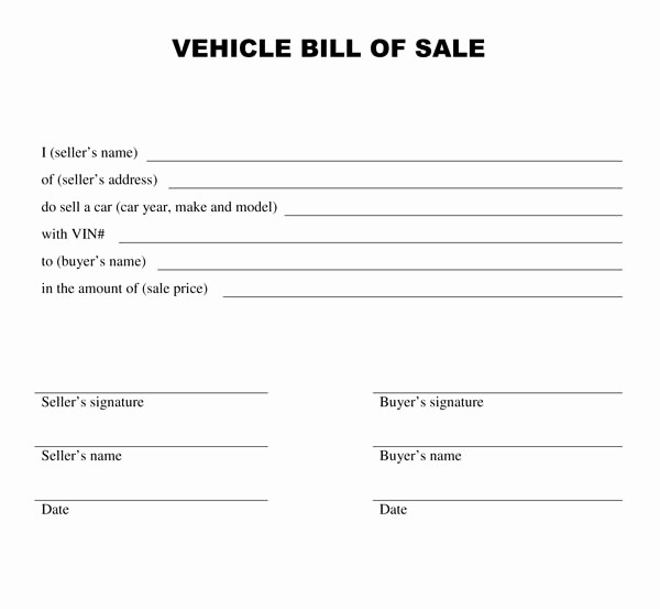 Standard Car Bill Of Sale Inspirational Free Printable Vehicle Bill Of Sale Template form Generic