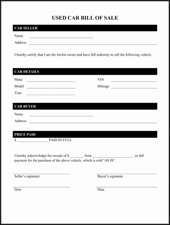 Standard Car Bill Of Sale Lovely Motor Vehicle Bill Of Sale Template Printable