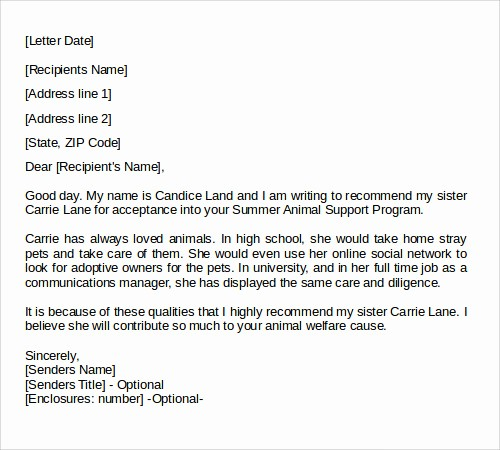 Standard Letter Of Recommendation format Fresh 27 Letter Of Re Mendation In Word Samples