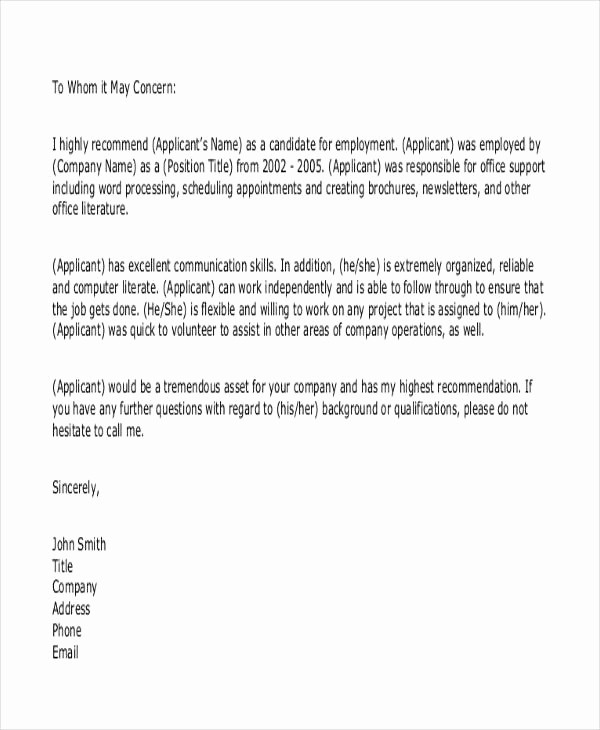 Standard Letter Of Recommendation format Luxury 7 Sample Work Reference Letters Free Samples Examples