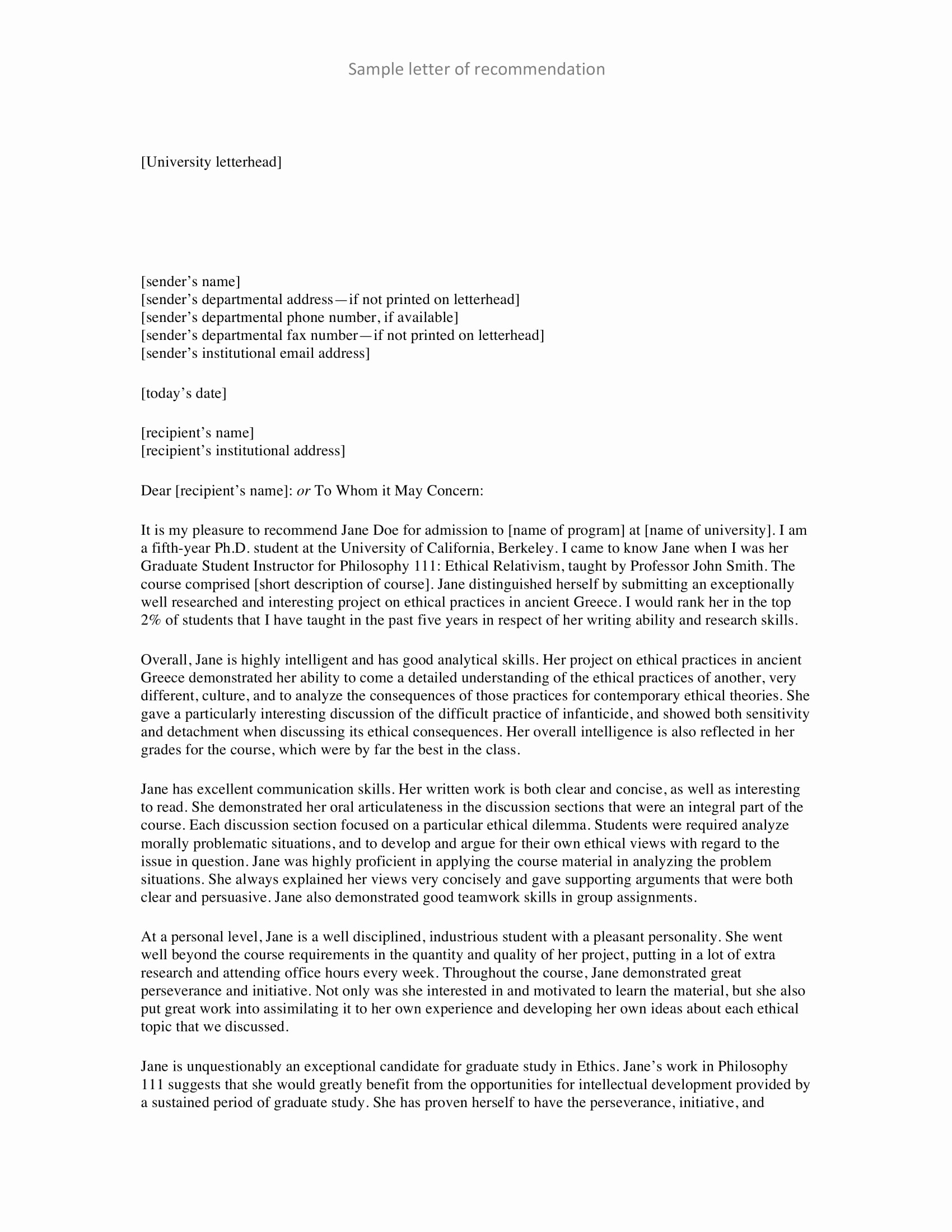Standard Letter Of Recommendation format New 9 Personal Re Mendation Letter Examples Pdf