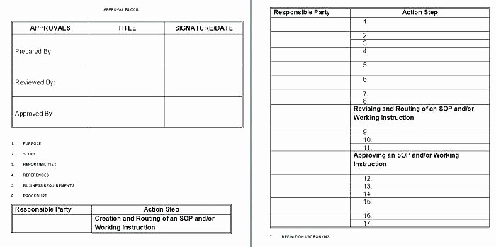 Standard Work Template for Office Fresh Sample Standard Operating Procedure Template Free Help
