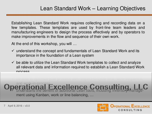 Standard Work Template for Office Inspirational Lean Standard or Standardized Work Training Module