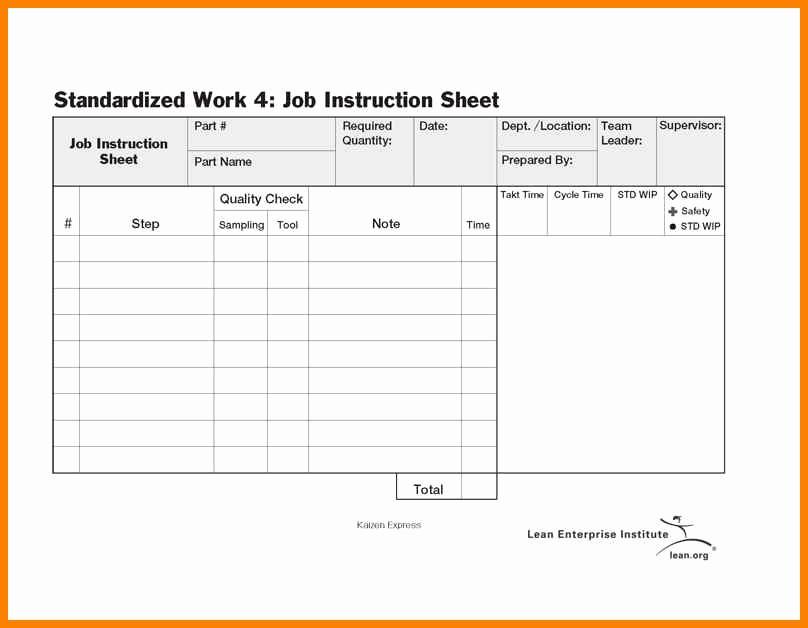 Standard Work Template for Office Lovely 6 Standard Work Templates