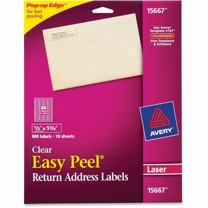 Staples Return Address Labels Template Lovely Avery Easy Peel Return Address Label 800 Per Pack Ld