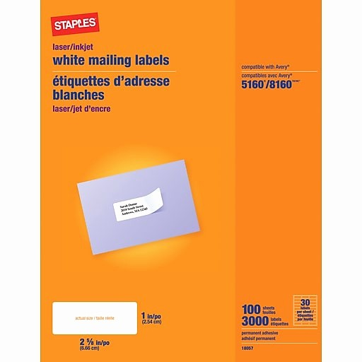 "Staples Return Address Labels Template New Staples White Inkjet Laser Address Labels 1"" X 2 5 8"