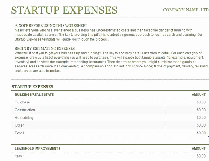 Startup Expenses and Capitalization Spreadsheet Lovely Profit and Loss Fice