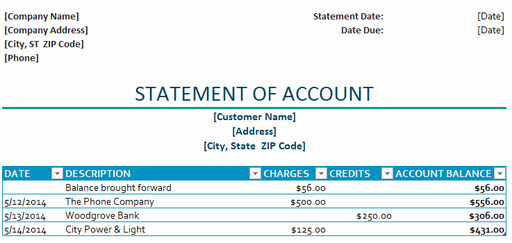 Statement Of Account Template Excel Beautiful Statement Of Account Template